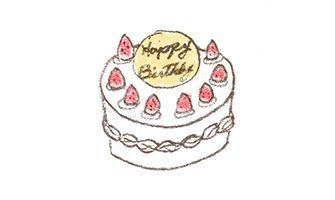バースデーケーキのイラスト(苺のシートケーキ)