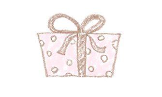 水玉模様のプレゼントのイラスト素材(真横)