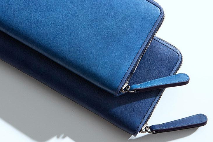 天然本藍染革が美しい!Bluestone(ブルーストーン)スクモレザーラウンドジップ長財布