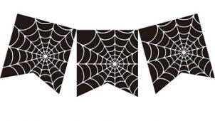 ハロウィンパーティーの演出に! クモの巣のガーランド素材(黒・ブラック)