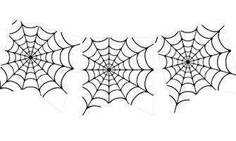 ハロウィンパーティーの演出に! クモの巣のガーランド素材(白・ホワイト)