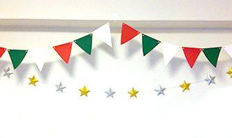 三色のクリスマスカラーで作るガーランド素材