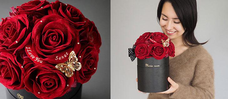 赤バラのサプライズプレゼントボックス