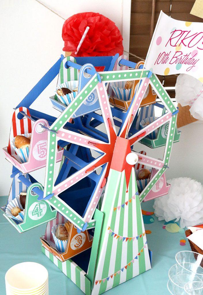 観覧車のケーキスタンド パーティー使用イメージ