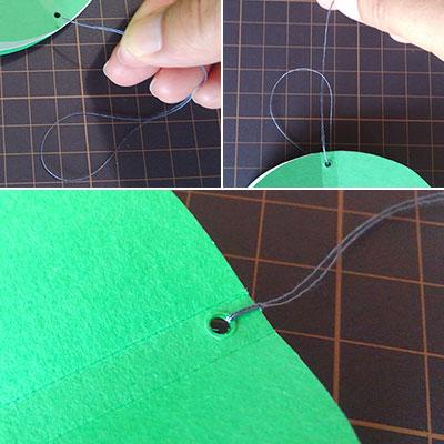 糸を付ける モビールの作り方