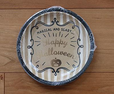 ハロウィン紙皿 金色入り 丸形 ブラックボード