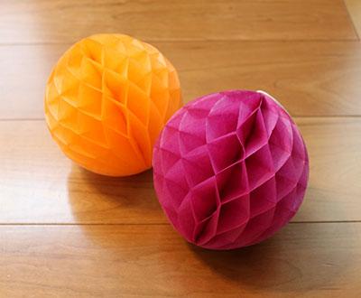 ペーパーハニカムボール15cm(オレンジ・紫) 100均ハロウィングッズ セリア(seria)