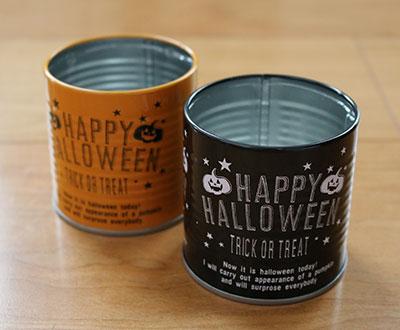 ハロウィン缶詰ブリキポットS(オレンジ・黒) 100均ハロウィングッズ セリア(seria)