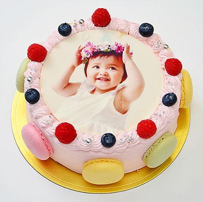 丸い写真ケーキ 5号サイズの誕生日ケーキ