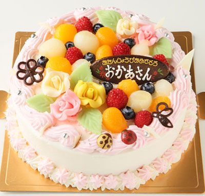 お花畑のケーキ 5号サイズの誕生日ケーキ