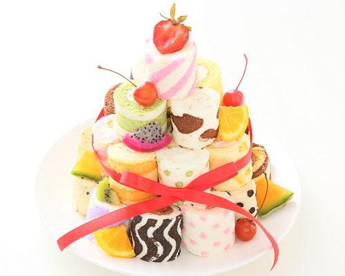 ロールケーキタワー 可愛いロールケーキ
