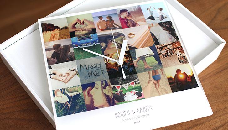 【思い出の写真で作る】恋人との記念日に贈るメモリーズフォトたっぷり20枚アクリル時計 クリスマスサプライズ