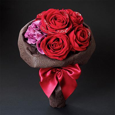 【プロポーズ・クリスマス・誕生日】花束風スペシャルメッセージフラワー 赤バラ(名前刺繍入り)
