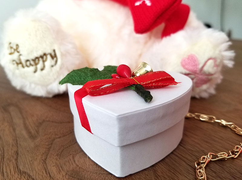 Jwell クリスマス限定 テディベア&シルバーネックレス ハートボックス