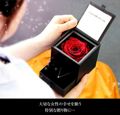 ダイヤモンドローズボックス&ネックレスのセット
