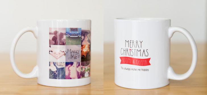 ク思い出写真をいっぱい詰め込めるクリスマス用の名入れマグカップ