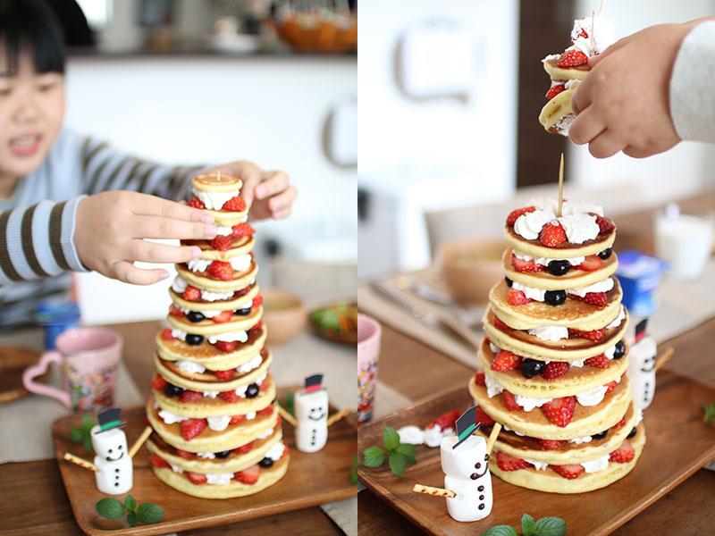 パンケーキで作る手作りクリスマスツリー