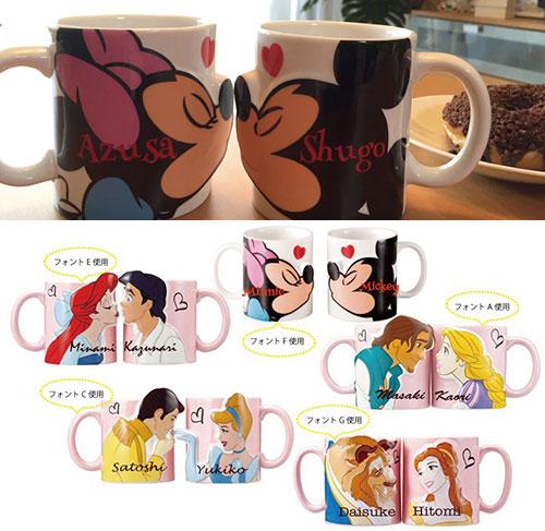 ディズニーキャラクターのペアマグカップ