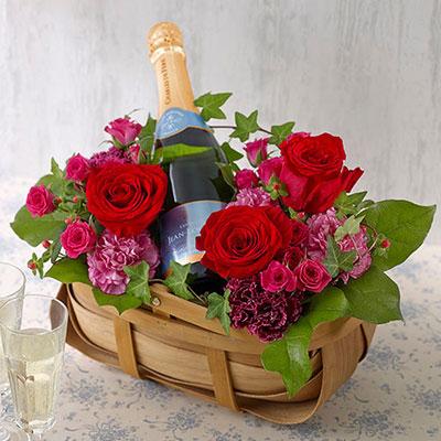 スパークリングワインとアレンジメントのセット バレンタインプレゼント