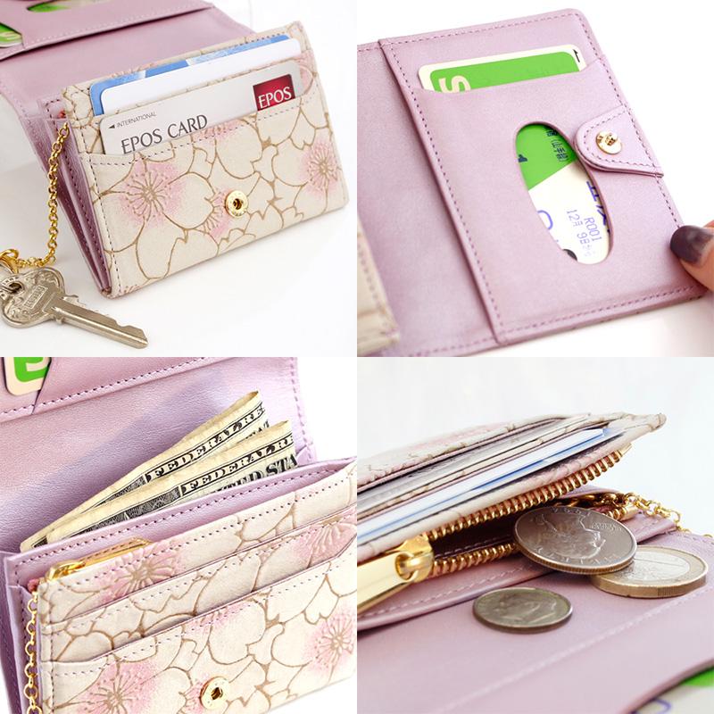 さくら咲く季節にピッタリなデザイン「ヌバックレザー4wayミニ財布 サクラ・ジュール」 機能紹介イメージ