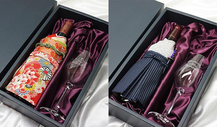 着物ワインとグラスのセット