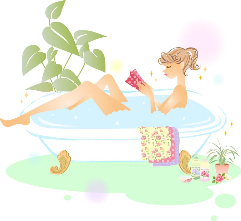 女性が入浴しているイメージのイラスト