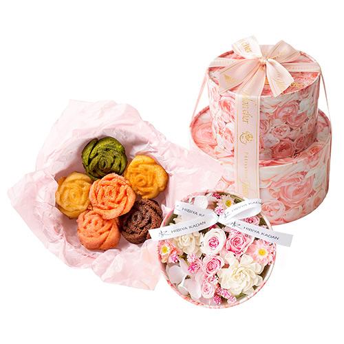 日比谷花壇×Mon cher プリザーブド&アーティフィシャルフラワーギフトセット・ピンク