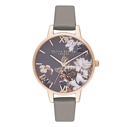 オリビアバートンの腕時計 マーブルフローラル デミ ヴィーガン ロンドン グレイ & ローズゴールド