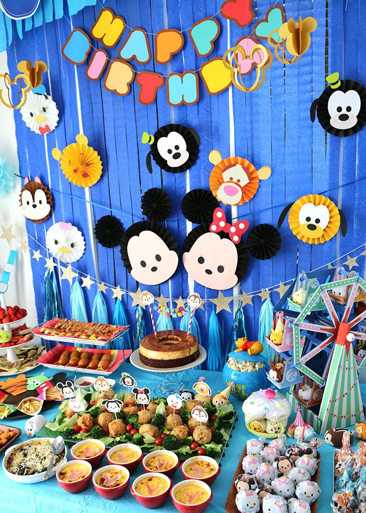 ツムツム誕生日パーティー パーティー料理と飾り付け 斜めから撮影