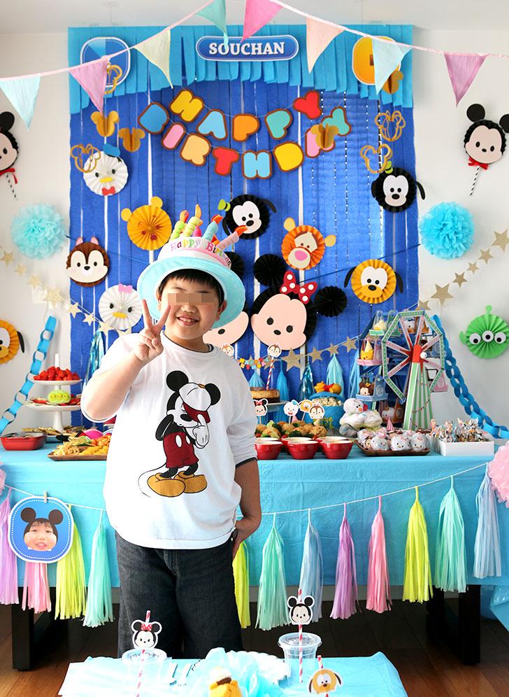ツムツム誕生日パーティー バースデーボーイの記念撮影