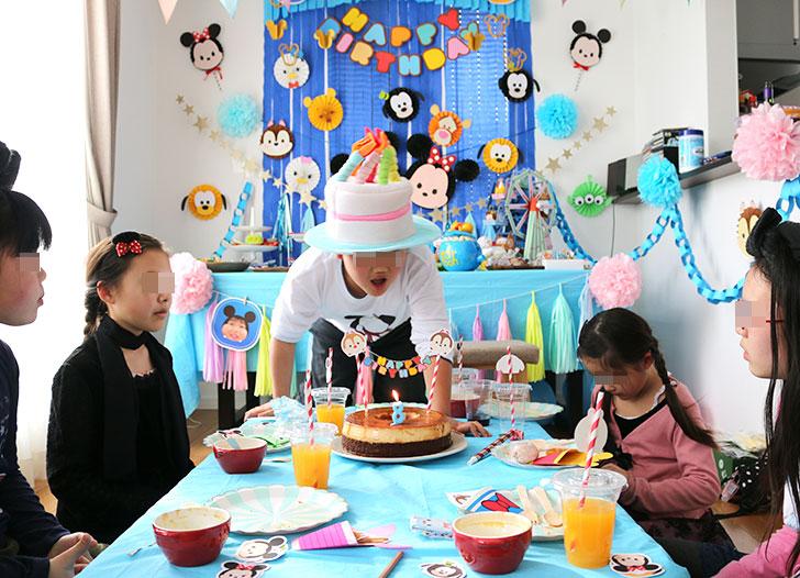 ツムツム誕生日パーティー バースデーケーキを囲んでハッピーバースデー!