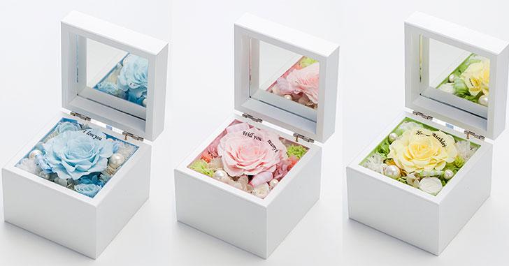 高級ホワイトオルゴールBOX お花イッパイ!プリザーブドフラワー