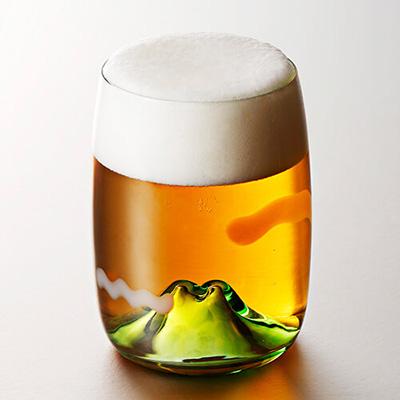 【月夜野工房】ビールグラス 夕焼けのやま