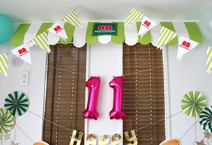 飾り付け 壁面 バーガーショップ(モスバーガー風)をテーマにした子供の誕生日パーティー演出