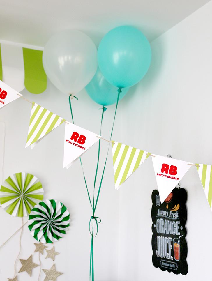 バルーンの飾り付け バーガーショップ(モスバーガー風)をテーマにした子供の誕生日パーティー演出