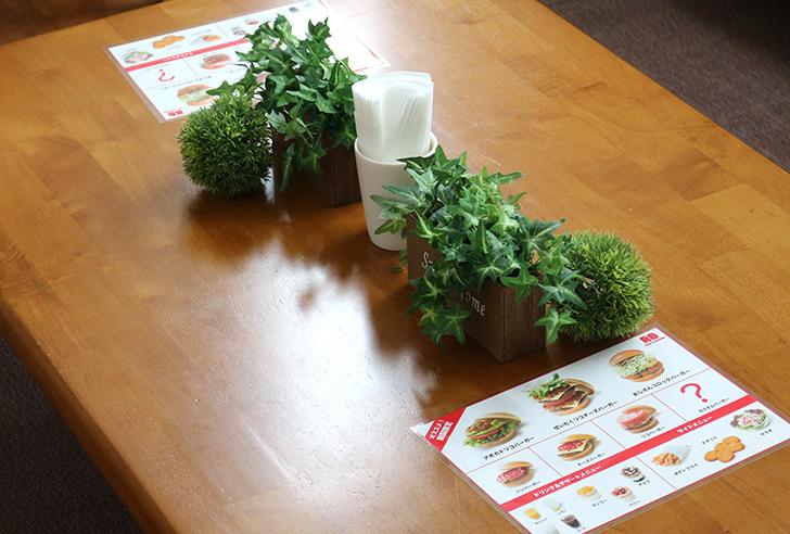 テーブルの上の飾り付け バーガーショップ(モスバーガー風)をテーマにした子供の誕生日パーティー演出