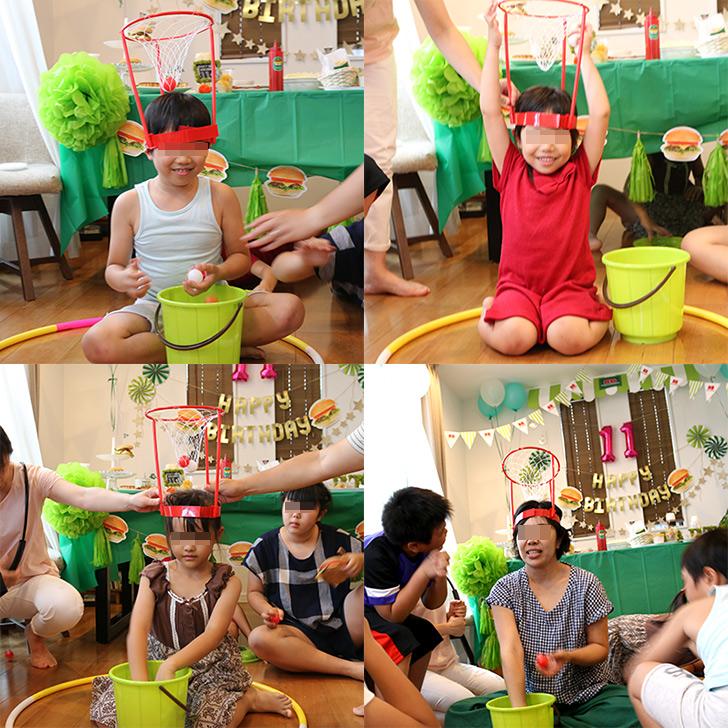 パーティーゲーム ひとり玉入れ バーガーショップ(モスバーガー風)をテーマにした子供の誕生日パーティー演出