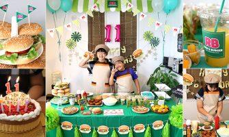 バーガーショップ(モスバーガー風)をテーマにした子供の誕生日パーティー演出
