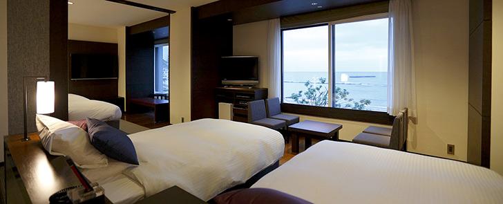 熱海サンビーチ前の眺望最高ホテルミクラス ホテルの客室(コーナーフォース)