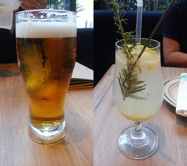ローズマリーズトウキョウ 注文したビールと自家製ハーブレモンスカッシュ