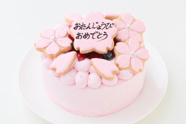 アイシングクッキーがデコレーションされたバースデーケーキ-03