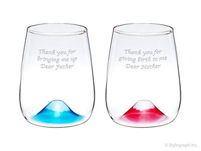 【グラス】富士山グラス 430ml 青富士&赤富士 ペアセット