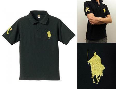 【シルエット殿・刀】ポロシャツ・大殿モデル<ブラック>