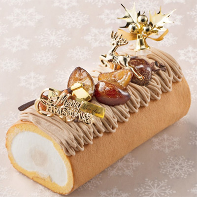クリスマスの堂島モンブランロール(パティスリー モンシェール) 大丸松坂屋のクリスマスケーキ