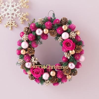 2017 クリスマスリース プリザーブド&ドライフラワー「リース Berryクリスマス~Cute Pink~」