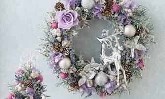 プリザーブド&ドライフラワーのおしゃれなクリスマスリース「リース Forest of silence~トナカイの森~」