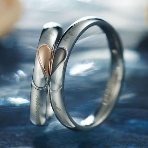 2つのリングを合わせるとハートになる Pure stainless ペアリング 【to heart】