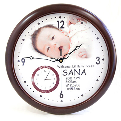 オリジナル 時計「赤ちゃん誕生(誕生時間表示)」BIG木製壁掛け時計/ 名入れ時計
