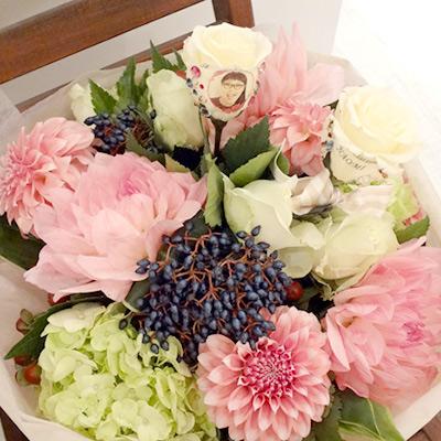 【花に写真プリント】季節のブーケL【ラウンドタイプ】 生花&プリザーブドフラワー