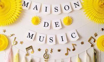 音楽発表会の飾り付け 5角形ガーランド 音符ガーランド